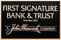 bronze plaques - identification plaque - FirstSignatureBankTrust